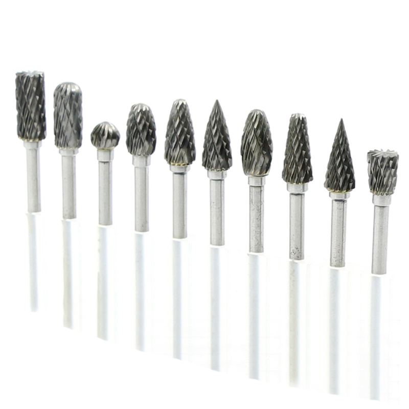 10pcs tungsten carbide drill bits for metal burr tungstenio burs cnc milling cutter dremel mini cone drill set ferramentas