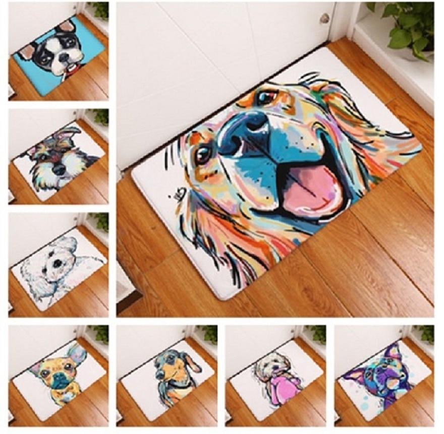 201 Modern Style Flannel Floor Lovely Painting Dog Print Carpets Anti-slip Floor Mat Outdoor Rugs Animal Front Door Mats floor