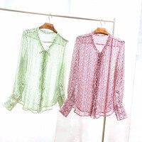 Роскошные блузки наивысшего качества 2019 весна лето оборки с длинным рукавом цветочный принт мятно зеленая Роза Подиумные блузы рубашки сво
