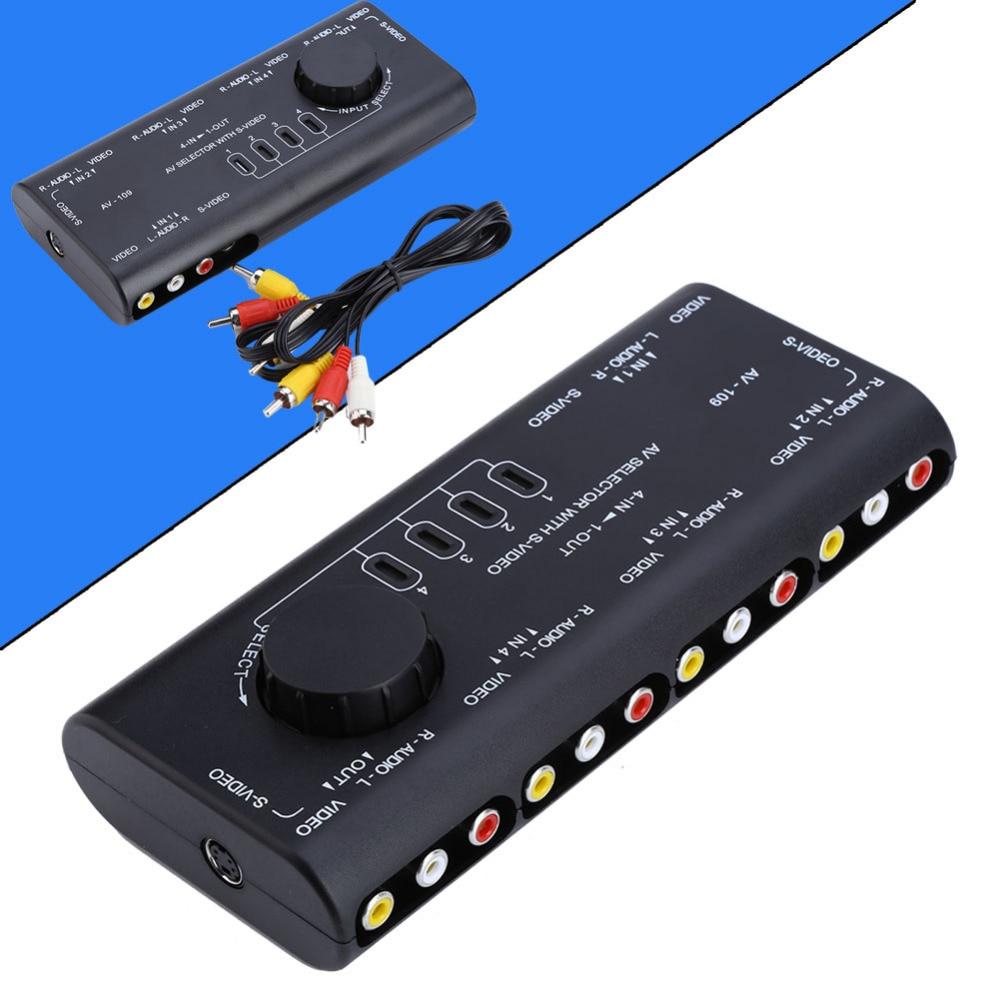 4 in 1 Out AV RCA Switch Box AV Audio Video Signal Switcher Splitter