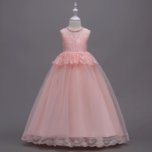dress girl wedding Sleeveless baby princess printing girls kids party Stage performance