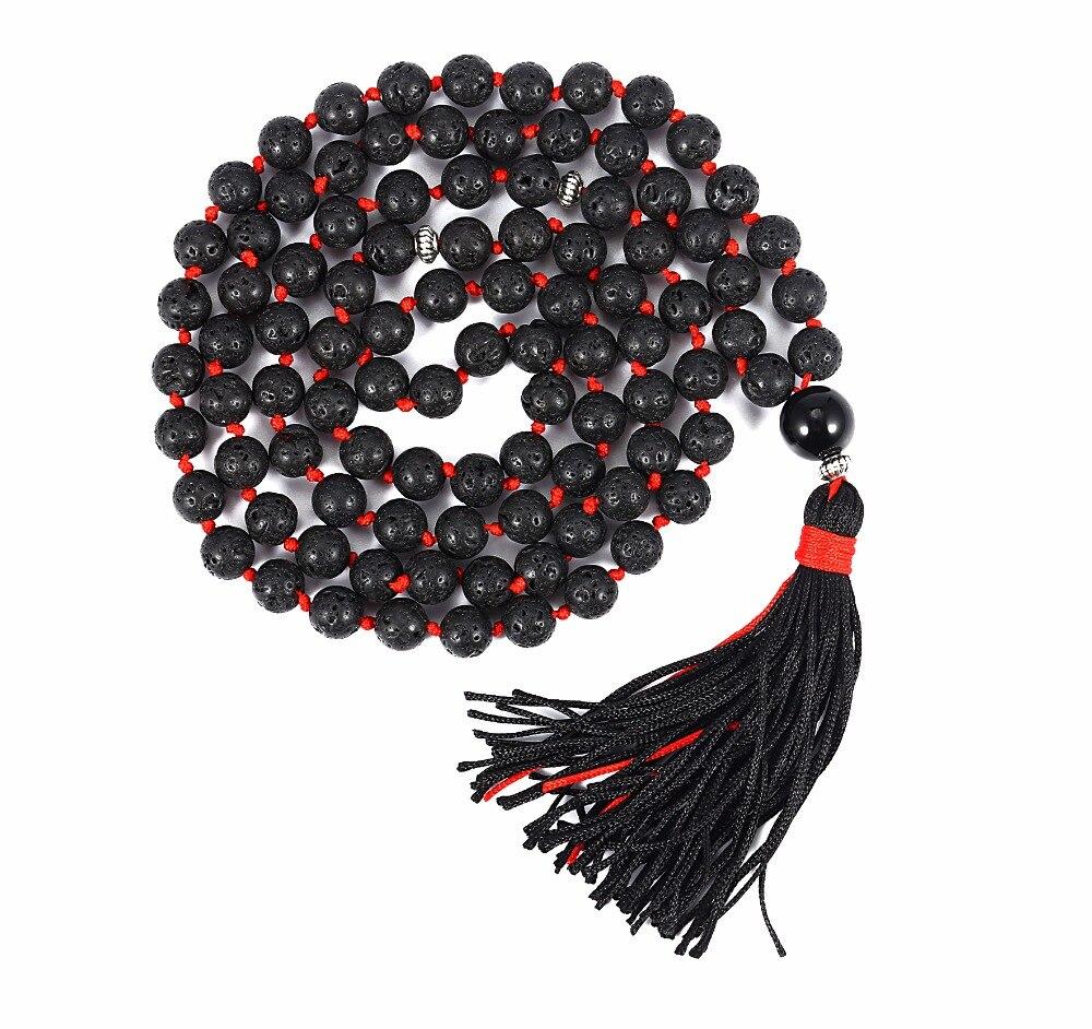 8 milímetros Budista Tibetano 108 Oração Meditação Mala Japa Contas Rocha de Lava Natural Aromaterapia Colar Pulseira para Mulheres Dos Homens