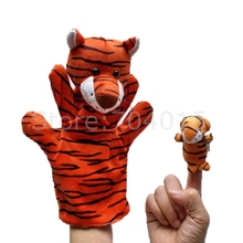 Tiger Animal Soft Plush Glove Big Hand Puppet + Small Finger Puppet Kids Toy Gift