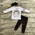 "2016 new design ""Fierce"" feather long sleeves black sequins pants kids clothing girls clothes suit with matching accessories"