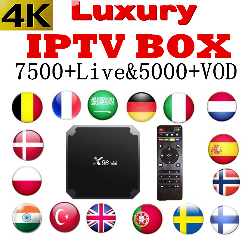 Luxury World IPTV Box android tv Box X96mini 7500 Live 5000 VOD 4K French Spain Portugal