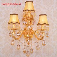 Crystal Sconces Luxury K9 Crystal Wall Lamp Gold Indoor Lighting Bedroom Wall Lamps Reading Light with Lampshade Sconce Lighting