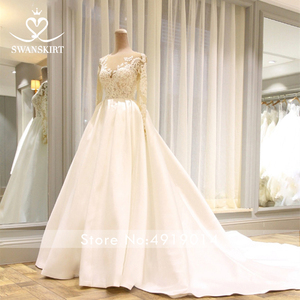 Image 5 - Swanskirt Scoop Satin Wedding Dresses 2020 Appliques Long Sleeve A Line Chapel Train Princess Bride Gown Vestido de Noiva I140