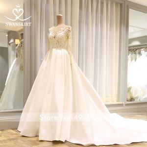 Image 5 - Swanskirt Scoop Satin Wedding Dresses2020 Appliques Long Sleeve A Line Chapel Train Princess Bride Gown Vestido de Noiva I140