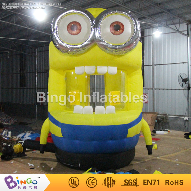 2.35 metro de altura de dibujos animados Dinero Cabina Inflable promocional Cubo de Caja caja de acaparamiento de Dinero corriendo dinero BG-A0836 juego inflable de juguete