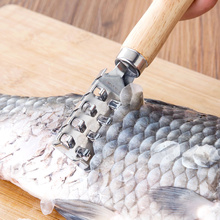 Stainless Steel fish scraping scale shaver with wood handle cleaning knife Fish Scraper kitchen accessories seafood tool