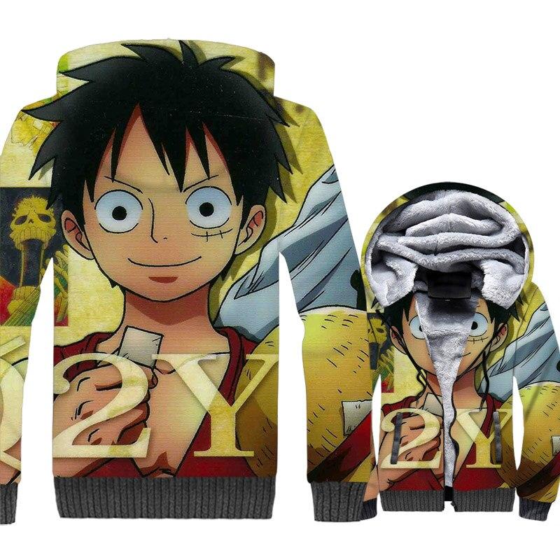 Japan Anime One Piece 3D Print Hoodie Men Luffy Hooded Sweatshirt Fleece Jacket The Pirate King Coat Portgas.D.Ace Streetwear