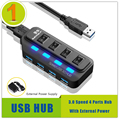 De alta Velocidad de 4 Puertos USB 3.0 Hub Divisor Hub USB Nuevo Para El Ordenador Portátil PC Portátil (con fuente de Alimentación Externa)