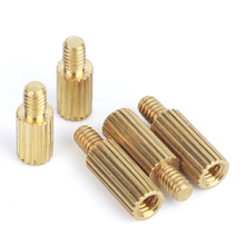 50pcs M2xL+3mm Brass Male Female Standoff Pillar Round Knurled Threaded Mounts Spacer Pcb Motherboard Bolt Screw 3mm-35mm