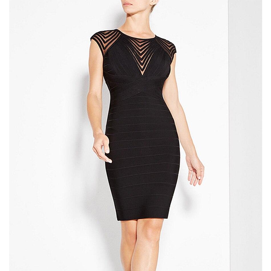 Date célébrité parti moulante Bandage robe femmes noir sans manches o-cou Sexy nuit robe de Club femmes Vestidos en gros