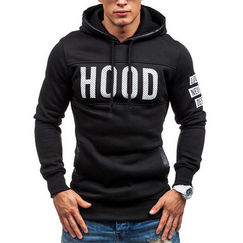 Moleton Masculino 2017 Slim Hoodies Men Sweatshirt Long Sleeve Pullover Hooded Sportswear MenS Letters Printed Tracksuit M-XXXL