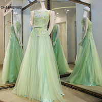 LS65499 Lovely Green Evening Dress O Neck Sleeveless Appliqued Lace Corset Back Tulle Long Party Dress