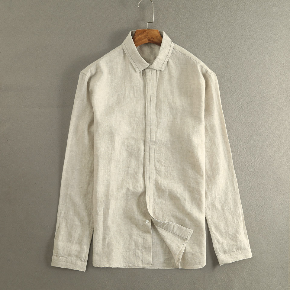 New Unique Design Long Sleeve Linen Shirts Men Brand Flax Shirt Mens Comfortable And Breathable Autumn Shirt Male Chemise Homme