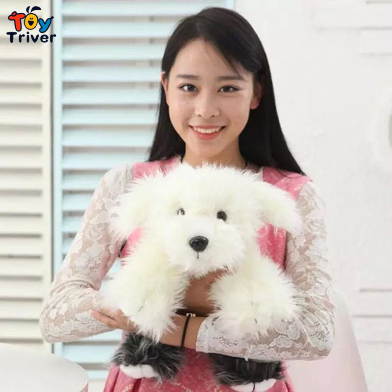 Quality Simulation Dog plush toy doll,white long hair poodle puppy gift for baby boy girl Car Accessories Home Shop Deco Triver puppy canina juguetes towerbig toys russian anime doll action figures car parking puppy dog toy gifts everest dog children gifts