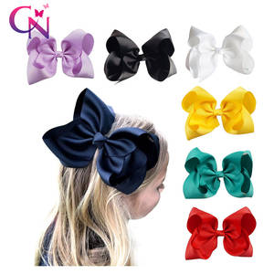 Hair-Bow Clips-Boutique Handmade Grosgrain Large Girls Kids Solid for with Big 8-