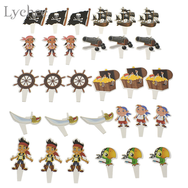 Lychee 30pcs Cartoon Pirate Birthday Cake Topper Kids Birthday Party Cupcake Toppers Baby Shower Decoration Supplies