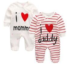 Детские комбинезоны для новорожденных мальчиков и девочек; цельнокроеная одежда в полоску с надписью «i love mommy»; детские зимние пижамы; ropa bebe; одежда