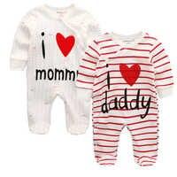 Pelele de una pieza para bebé recién nacido, niño y niña, ropa a rayas, i love mommy, trajes de dormir de invierno para bebé, ropa para bebé