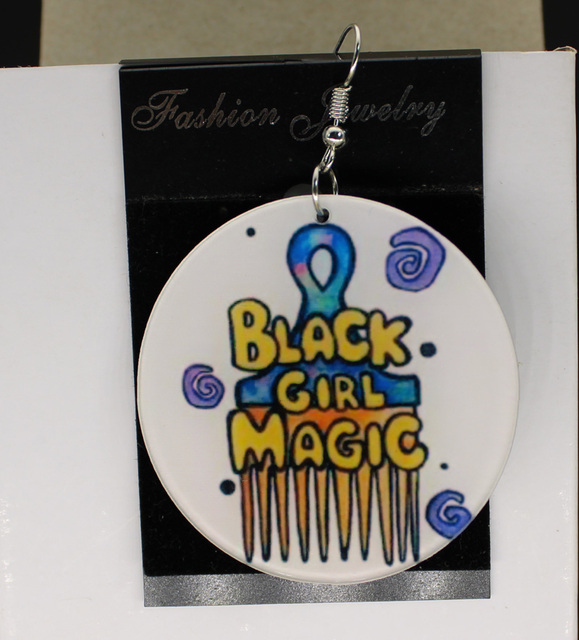 Colorful Black Magic Comb Earrings Custom Afro Africa Earring Charms 2 Sided Logo Text