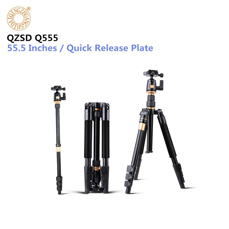 Camera Tripod QZSD Q555 Aluminium Alloy Camera Video Monopod Professional Extendable Tripod With Quick Release Plate Stand bt 158 aluminium alloy 1460mm camera video monopod professional extendable tripod slr dslr holder stand with carry bag