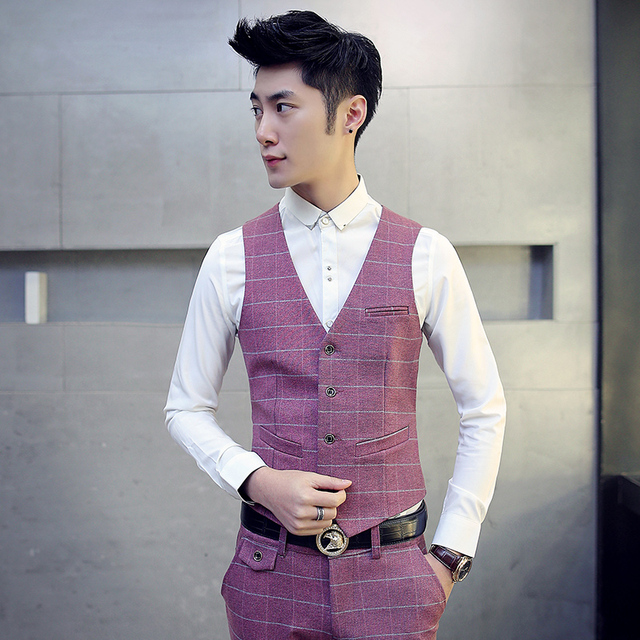 Korean Design Fashion Suit Vest Men Plaid Design Dress Slim Fit Vests Male Formal Wedding V Style Sleeveless Waistcoat Man M-5xl