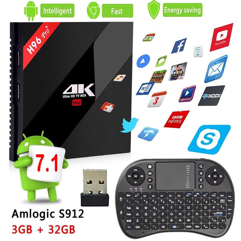 H96 Pro + TV Box Amlogic S912 3GB 32GB Octa Core Android 7.1 OS BT 4.1 2.4GHz+5.0GHz WiFi Mini PC Media Player Smart Set Top Box