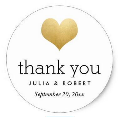 1.5 cal nowoczesne Faux złota folia serca ślub dziękuję klasyczne okrągłe naklejki