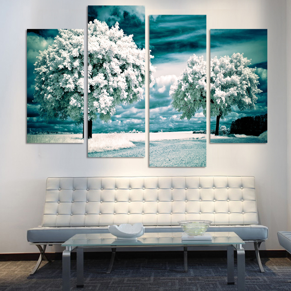 cuadros decoracion painting 4 panel tree canvas picture home decoration living room print large art framed