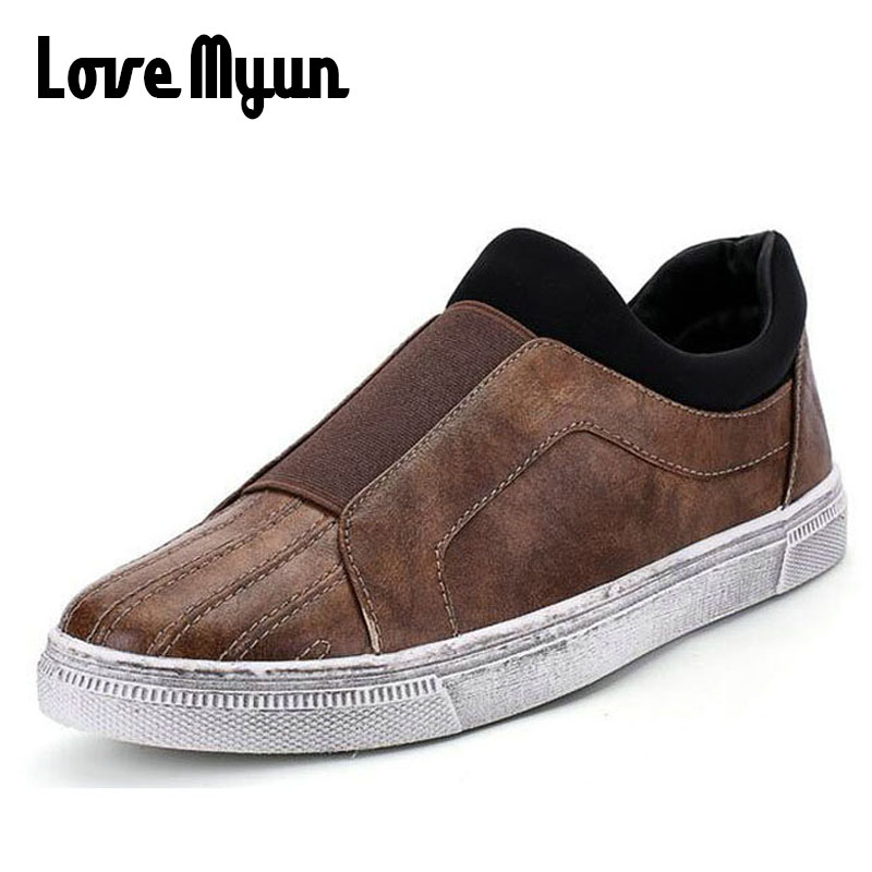 2018 brand new spring men fashion retro Leather shoes Elastic band slip on casual flats shoes hot sale sneakers shoes WA-79 branded men s penny loafes casual men s full grain leather emboss crocodile boat shoes slip on breathable moccasin driving shoes