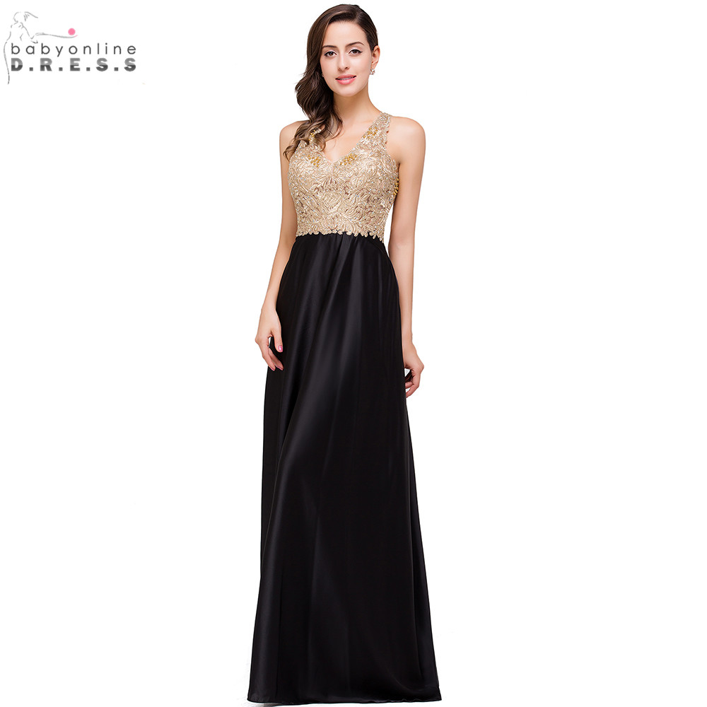 Sexy Open Back Gold Lace Beaded Black Chiffon   Evening     Dress   Real Image Cheap   Evening     Dresses   Long Robe de Soiree Longo