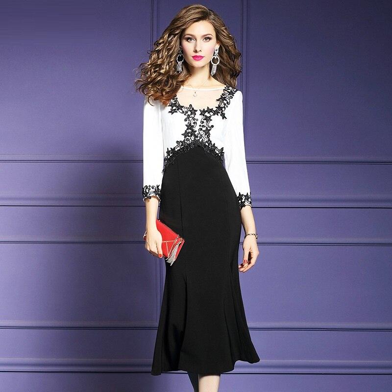 Spring 2019 new Mermaid Office Lady patchwork dress elegant Package hip ladies Women Party Dress Plus