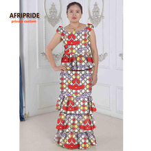 African styles two pieces cake dress set for women AFRIPRIDE sleeveless top+floor length dress women casual cotton set A622610