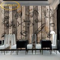 Free Shipping Seafood Aquatic Retro Wood Panel Mural Living Room Wallpaper Mural Coffee House Bedroom Home