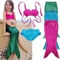 3 UNIDS Chica Kids Mermaid Tail Nadar Bikini Set Bañador traje de Cosplay de Lujo 3-9Y