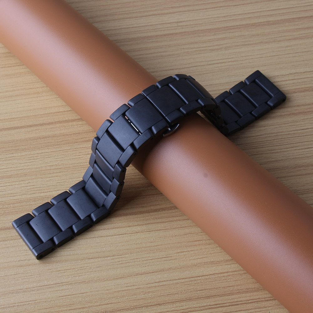 Permalink to Watchband Ceramic Black Watchbands 22mm  Straight End Solid Links Diamond Watch Accessories General Bands Man watch strap matte