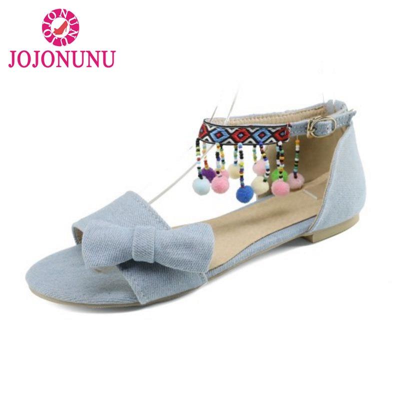 48 Jojonunu Size 1lf3ctkj Flats Bowknot National Style 32 Sandals Women 3qLRjSc54A
