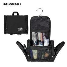Нейлоновая косметичка BAGSMART с вешалкой, водонепроницаемая косметичка, портативная косметичка, унисекс, багаж, дорожные сумки для чемодана