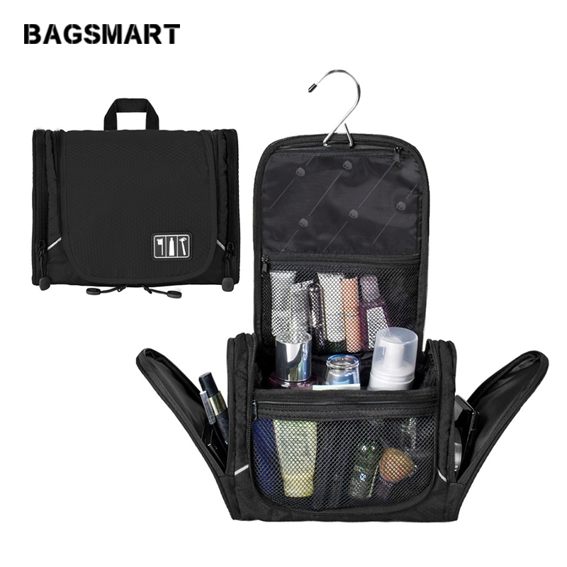 BAGSMART Nylon Cosmetic Bag With Hanger Waterproof Toiletry