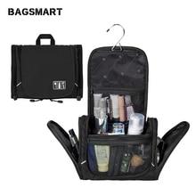 BAGSMART Nylon Cosmetic Bag With Hanger Waterproof Toiletry Bag