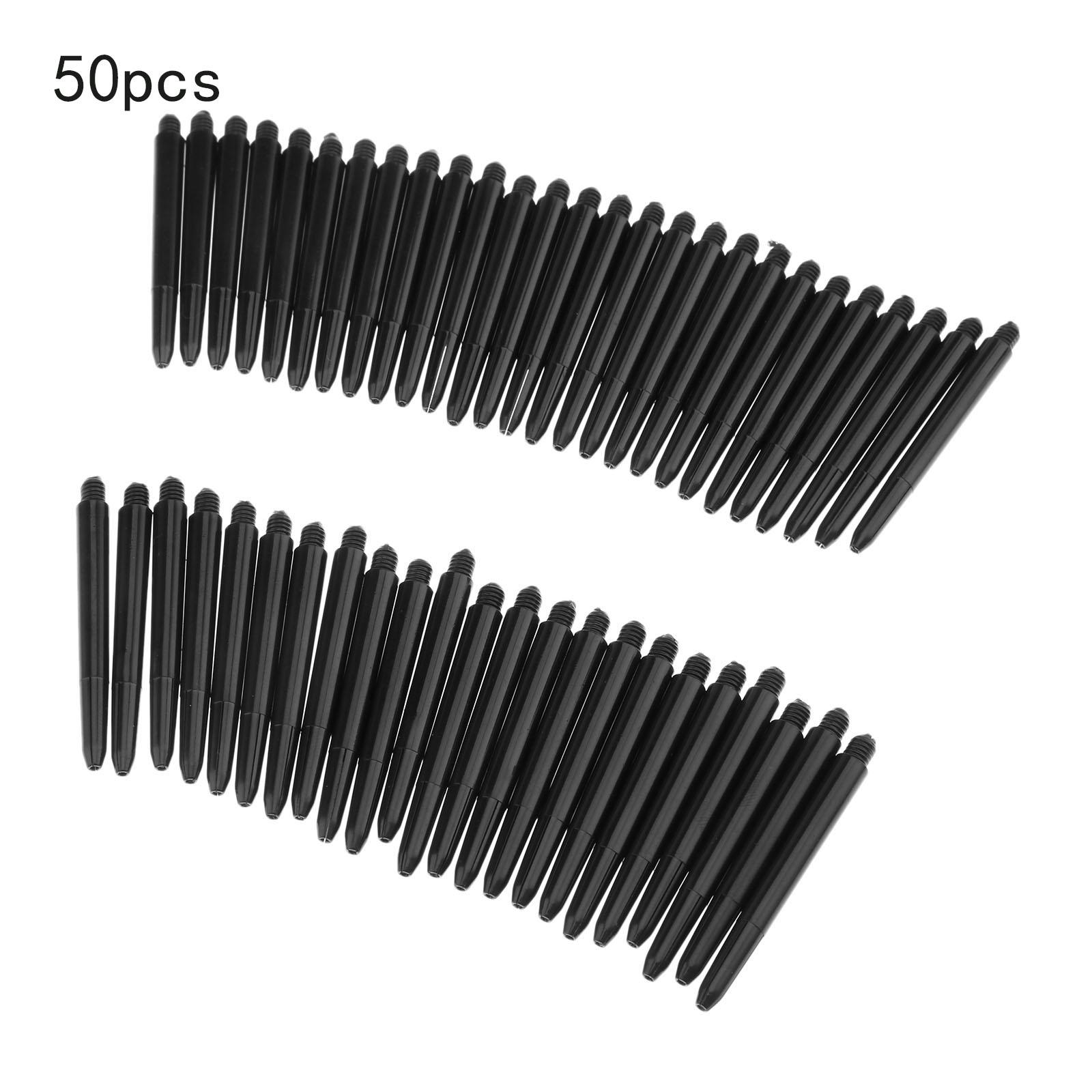 Black 50pcs/lot Nylon Dart Shafts 2BA 48mm Screw Thread Plastic Darts Rod Stems Darts Accessories for Standard 2BA screw thread 013 spider pattern sharp tungsten plated iron plastic darts for dart games black 3 pcs