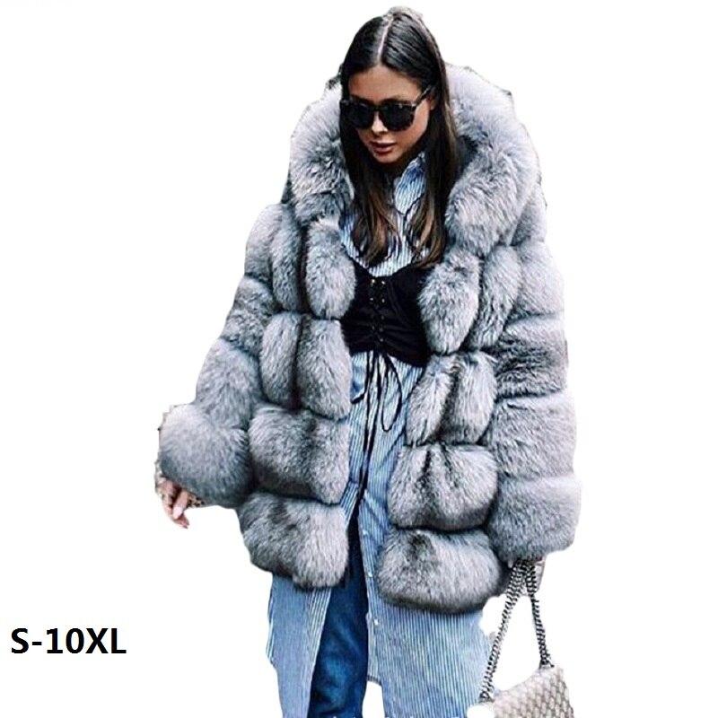 Casaco mulheres novo inverno com capuz de pele artificial casaco 2018 qualidade da moda imitação de vison casacos de pele das mulheres casaco de pele longos e grossos