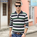 Polo Men Striped Long Sleeve Tops Cotton Business Colorful Casual  Camisa Masculina  xxxl Rib Turn Down Collar Male Clothing 805