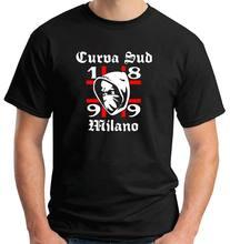 Camisa t camisa masculina 2019 camisa masculina o pescoço de algodão ultras rossoneri curva sud milano t camisas moletom