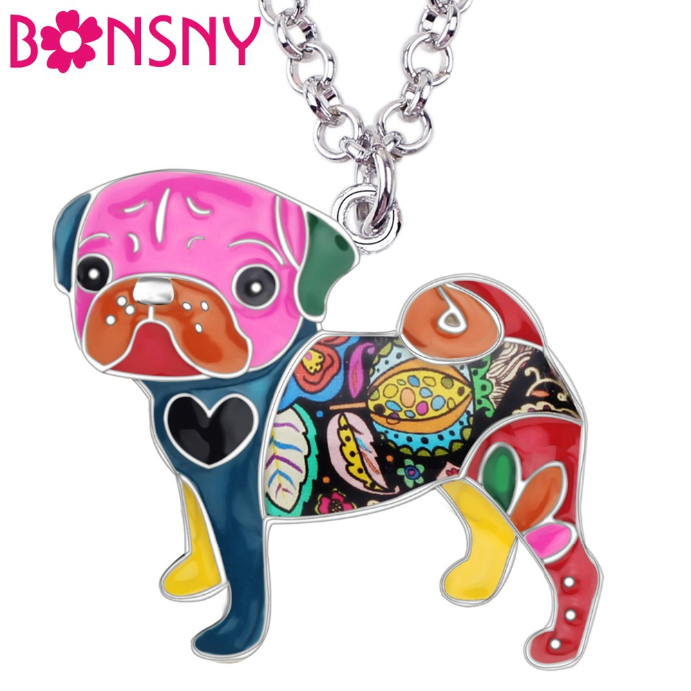 Bonsny uttalande Metal Alloy Emalj Pug Dog Choker Halsband Chain Collar Bulldog Pendant 2016 Fashion New Enamel Smycken Kvinnor