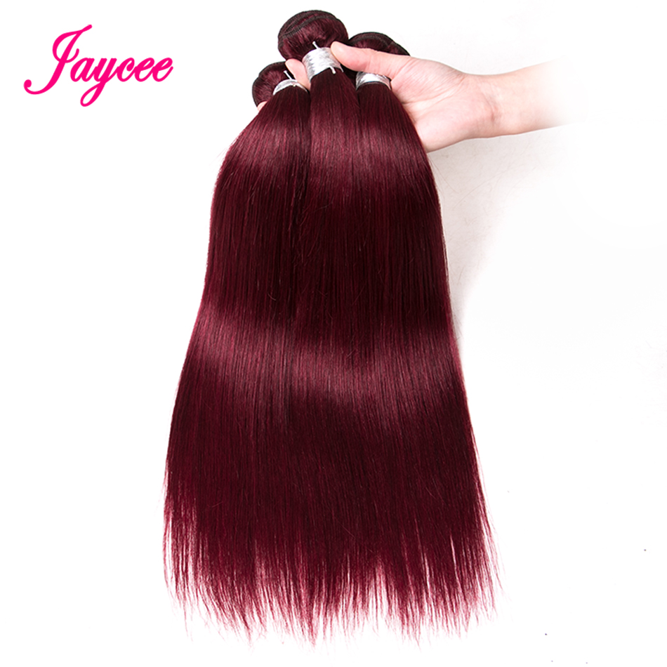 Jaycee Burgundy Brazilian Hair Weave Bundles Straight Human Hair Extensions 99J Red Hair Bundles Non Remy Hair Thick Weft 3pcs