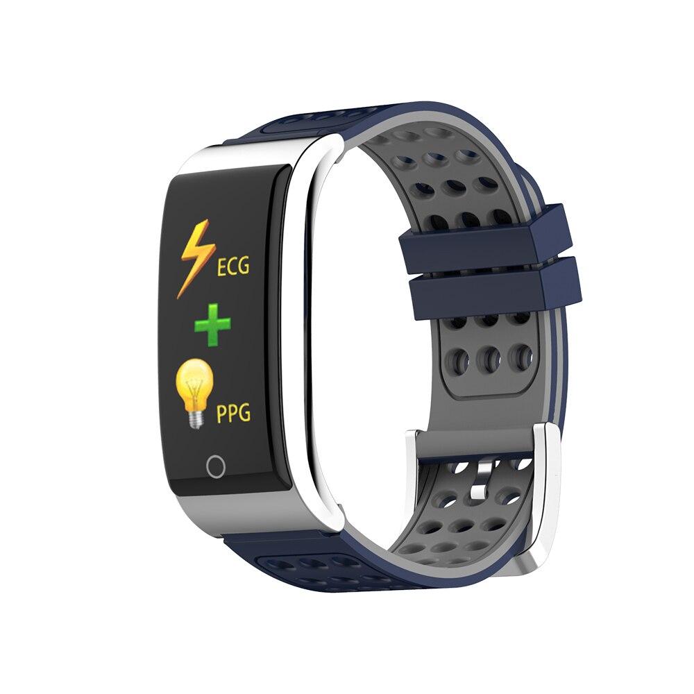 ECG Blood Pressure Smart Bracelet IP67 Waterproof Heart Rate Monitor Wristband 0.96'' OLED Display Activity Tracker metal red